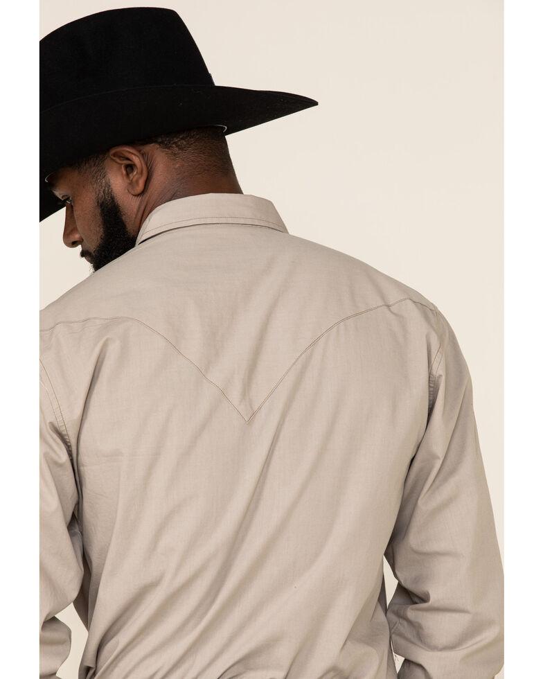 Roper Men's West Made Stone Solid Poplin Long Sleeve Western Shirt , Brown, hi-res