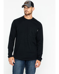 Hawx® Men's Black Logo Crew Long Sleeve Work T-Shirt - Big , Black, hi-res