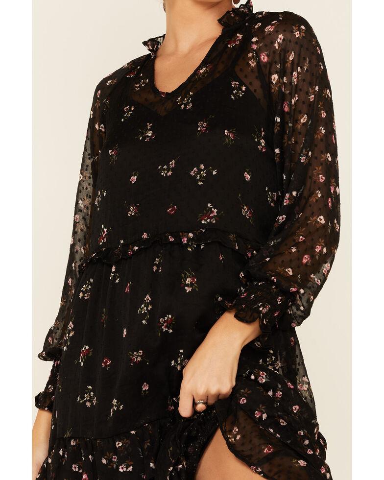 Angie Women's Black Floral Chiffon Dobby Dress , Black, hi-res