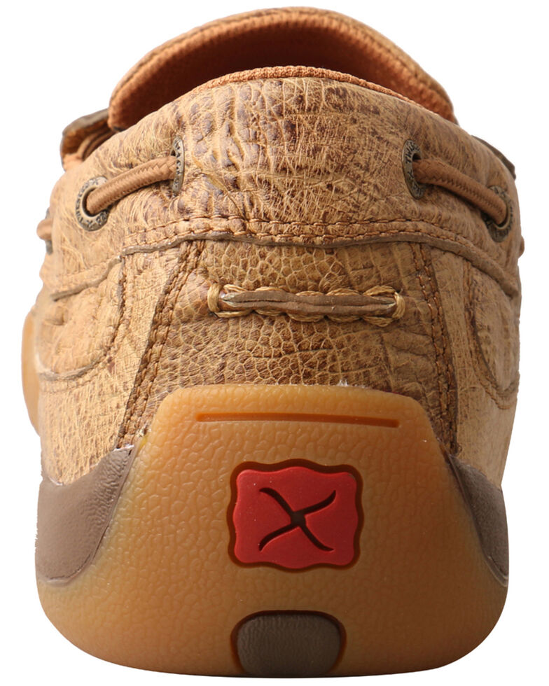 Twisted X Men's Ostrich Print Driving Shoes - Moc Toe, Brown, hi-res