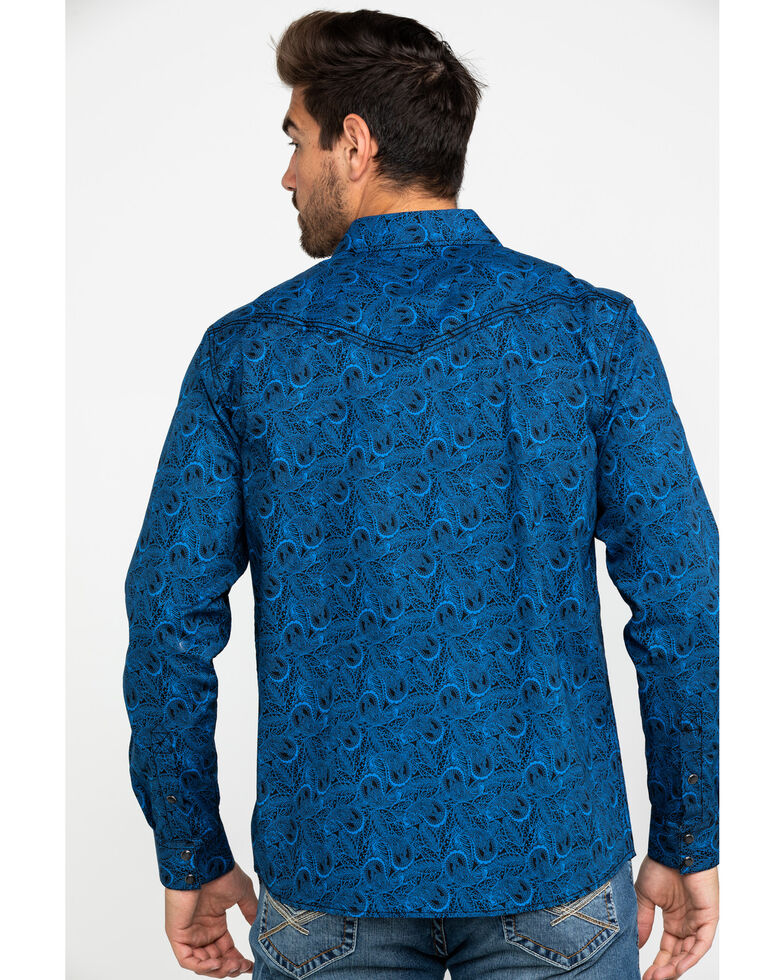 Cody James Men's Waterloo Paisley Print Long Sleeve Western Shirt , Navy, hi-res