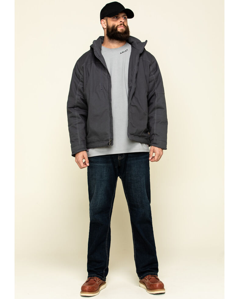 Ariat Men's Grey Rebar Max Move Cordura Insulated Hooded Work Jacket , Grey, hi-res