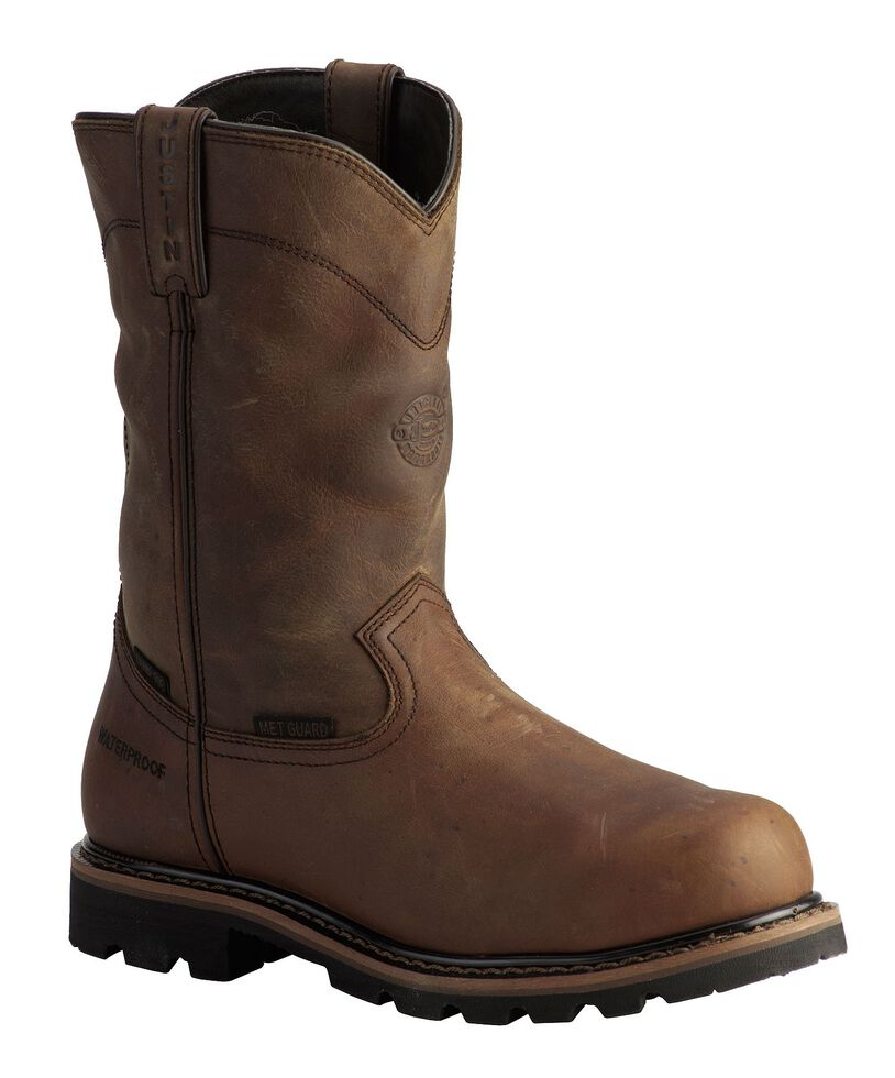 Justin Men's Pulley Waterproof MetGuard Pull-On Work Boots - Composite Toe, Brown, hi-res