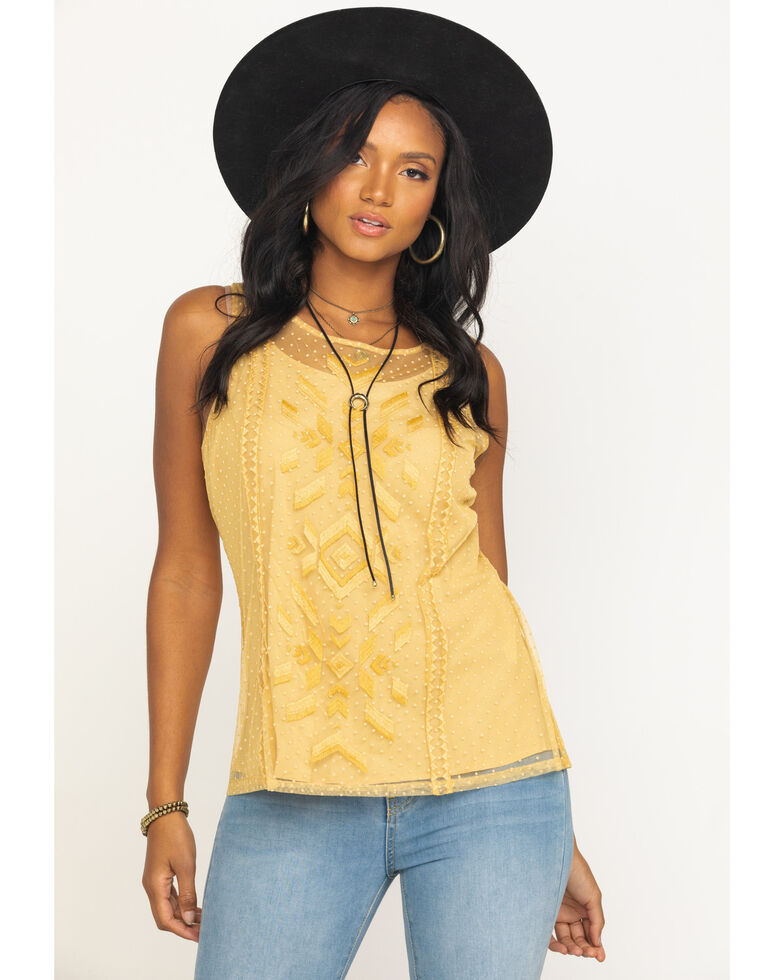Ariat Women's Mesh With Me Tank Top, Gold, hi-res