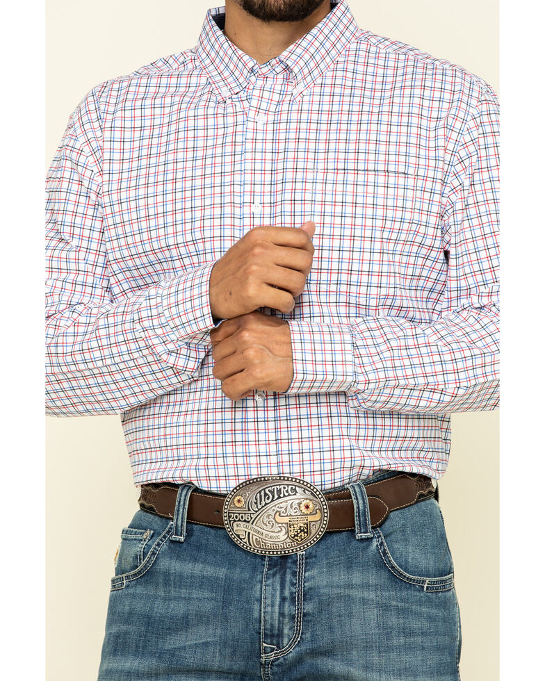 Cody James Core Men's Patriot Small Plaid Long Sleeve Western Shirt , White, hi-res