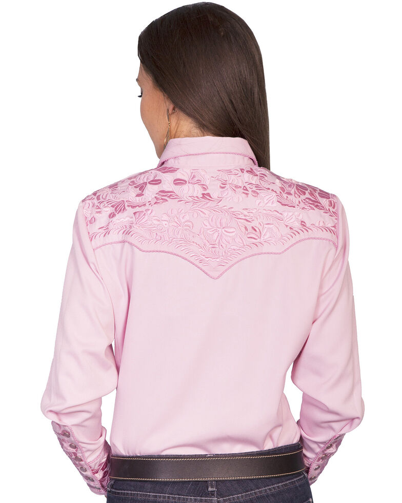Scully Women's Floral Embroidered Western Shirt, Pink, hi-res