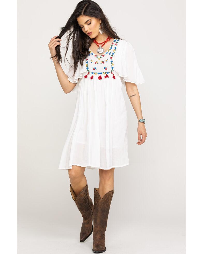Miss Me Women's White Embroidered V-Neck Boho Tassel Dress, White, hi-res