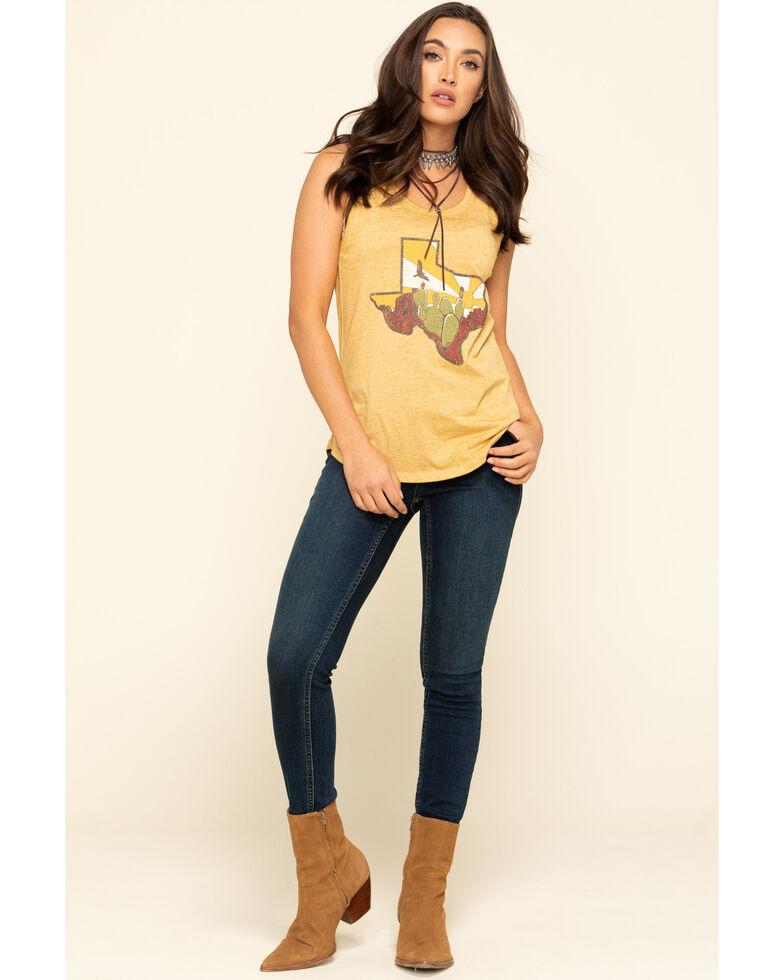 Rock & Roll Denim Women's Mustard Texas Desert Graphic Tank Top, Dark Yellow, hi-res