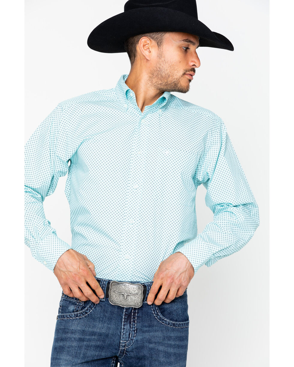 Ariat Men's Vancaster Long Sleeve Shirt, Light Green, hi-res