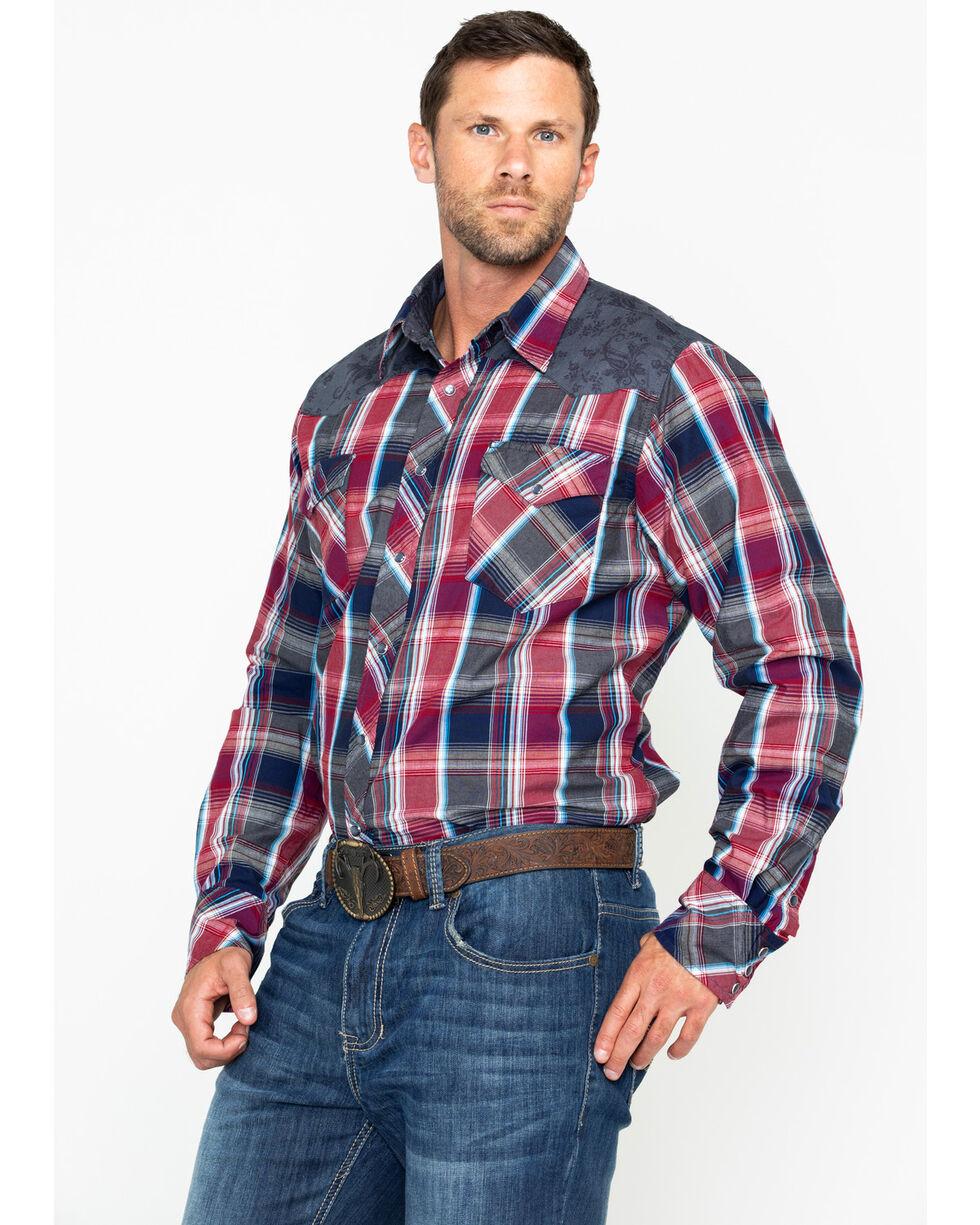 Roper Men's Plaid Flower Yolk Long Sleeve Western Shirt , Red, hi-res