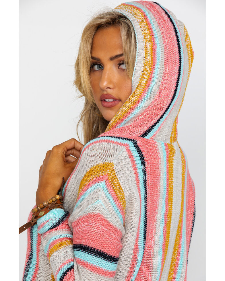 Rock & Roll Cowgirl Women's Sweater Knit Striped Pullover Hoodie , Coral, hi-res