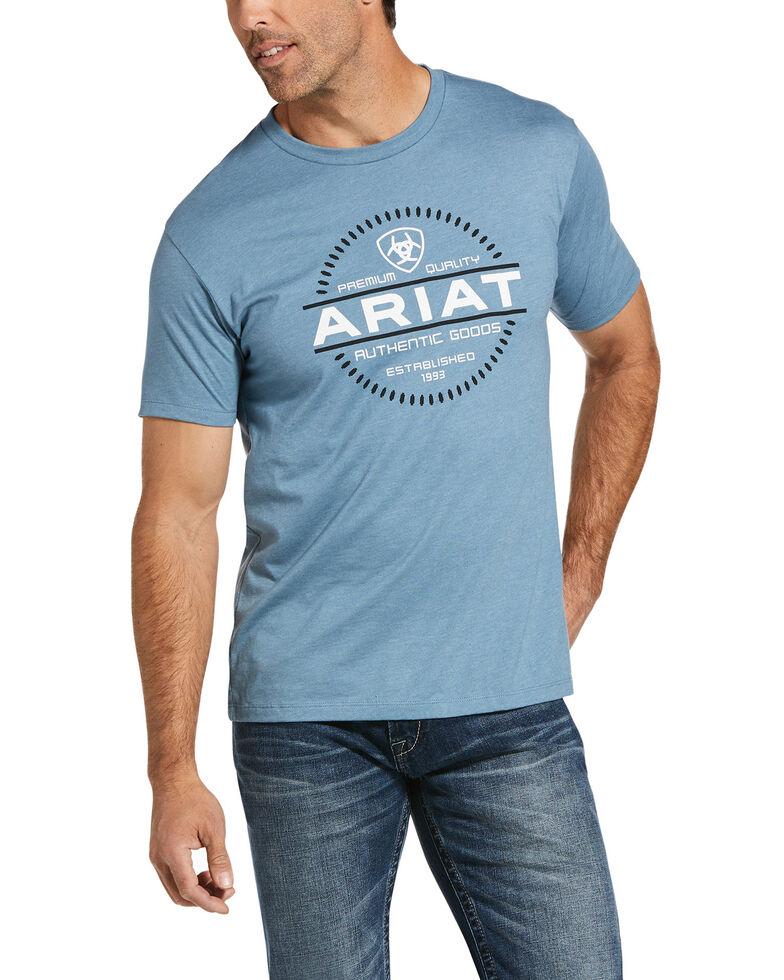 Ariat Men's Blue Heather Authentic Logo Graphic T-Shirt , Blue, hi-res