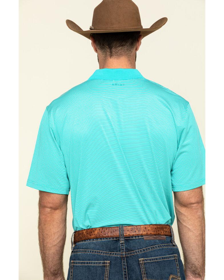 Ariat Men's Turquoise Micro Stripe Tek Short Sleeve Polo Shirt , Turquoise, hi-res