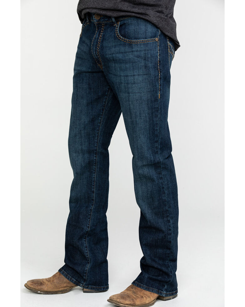 Rock 47 By Wrangler Men's Mic Drop Stretch Slim Bootcut Jeans , Dark Blue, hi-res