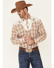 Roper Men's Orange Embroidered Plaid Long Sleeve Snap Western Shirt , Orange, hi-res