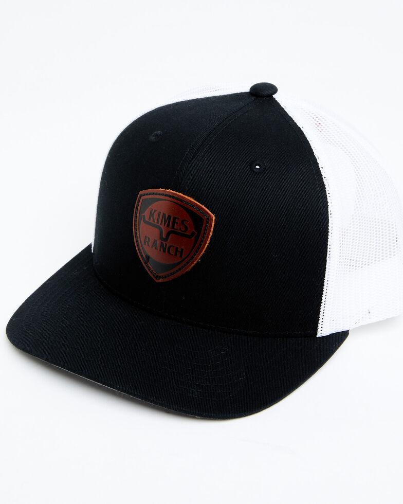 Kimes Ranch Men's Black Leather Bone Logo Mesh-Back Ball Cap , Black, hi-res