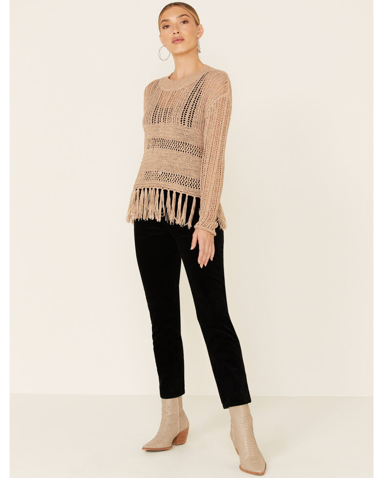 Rock & Roll Denim Women's Open Weave Fringe Sweater, Tan, hi-res