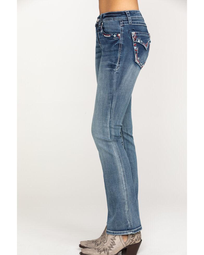 "Grace in LA Women's Medium Stars Easy Bootcut 32"" Jeans , Blue, hi-res"
