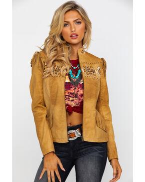 Leatherwear by Scully Women's Aztec Buckskin Beaded Fringe Jacket , Tan, hi-res
