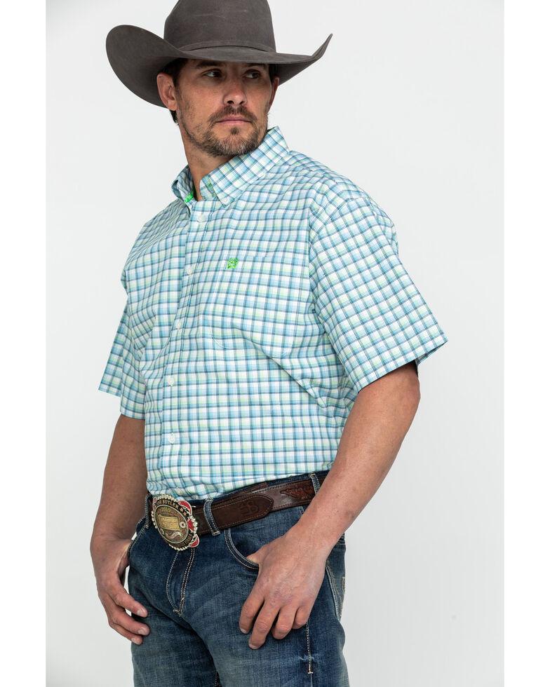 Cinch Men's Med Plaid Button Short Sleeve Western Shirt , Cream, hi-res