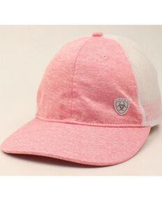 Ariat Women's Pink Offset Mini Logo Patch Mesh-Back Ball Cap, Pink, hi-res