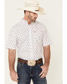 Ariat Men's Brewer Bull Geo Print Short Sleeve Button-Down Western Shirt , White, hi-res