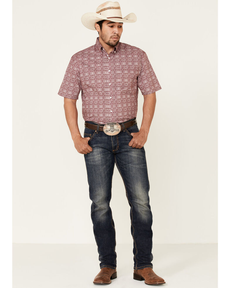 Rough Stock By Panhandle Men's Maroon Medallion Print Short Sleeve Western Shirt , Wine, hi-res