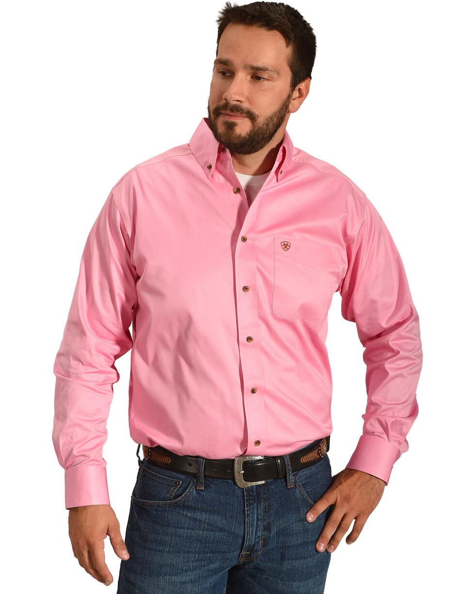 Ariat Men's Pink Classic Fit Solid Twill Shirt, Pink, hi-res