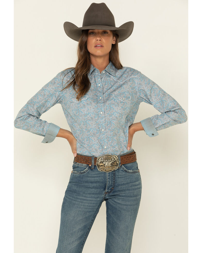 Rough Stock by Panhandle Women's Blue Floral Vintage Print Long Sleeve Western Shirt, Blue, hi-res