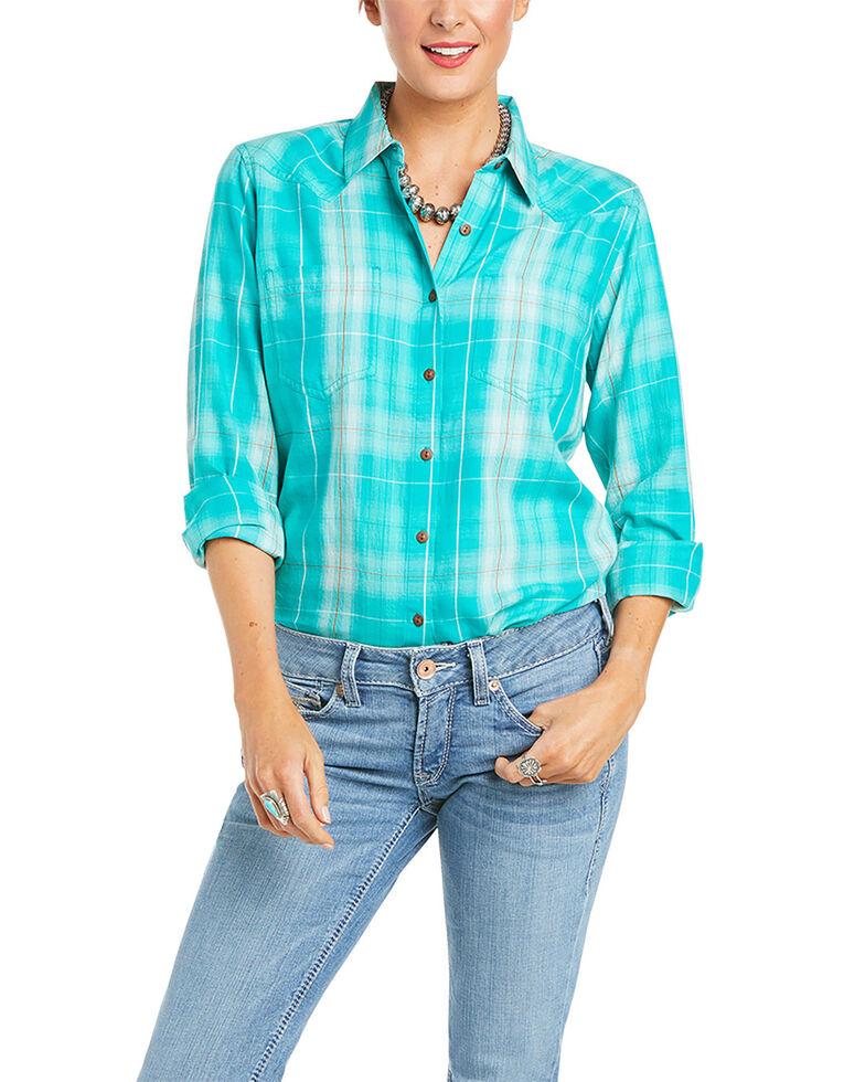 Ariat Women's R.E.A.L Tropical Green Plaid Long Sleeve Button Western Shirt , Green, hi-res