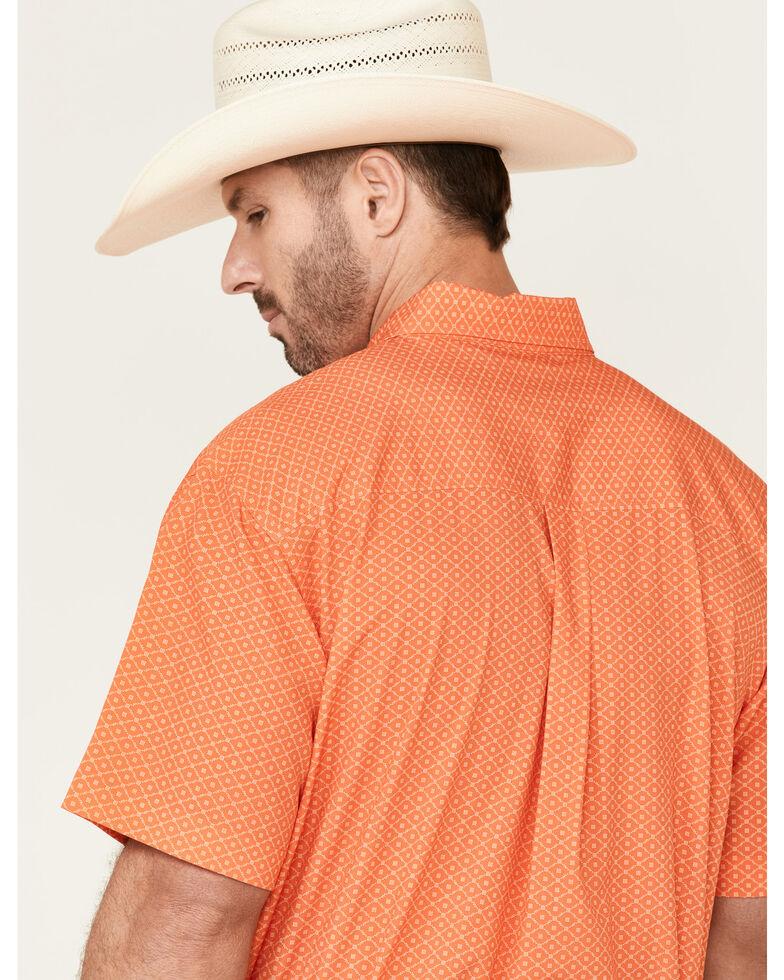 Cinch Men's Arena Flex Orange Diamond Geo Print Short Sleeve Western Shirt , Orange, hi-res