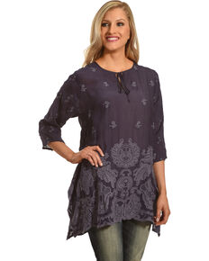 41720f3c995bd Johnny Was Women s Blue Gravel Paisley Flair Blouse