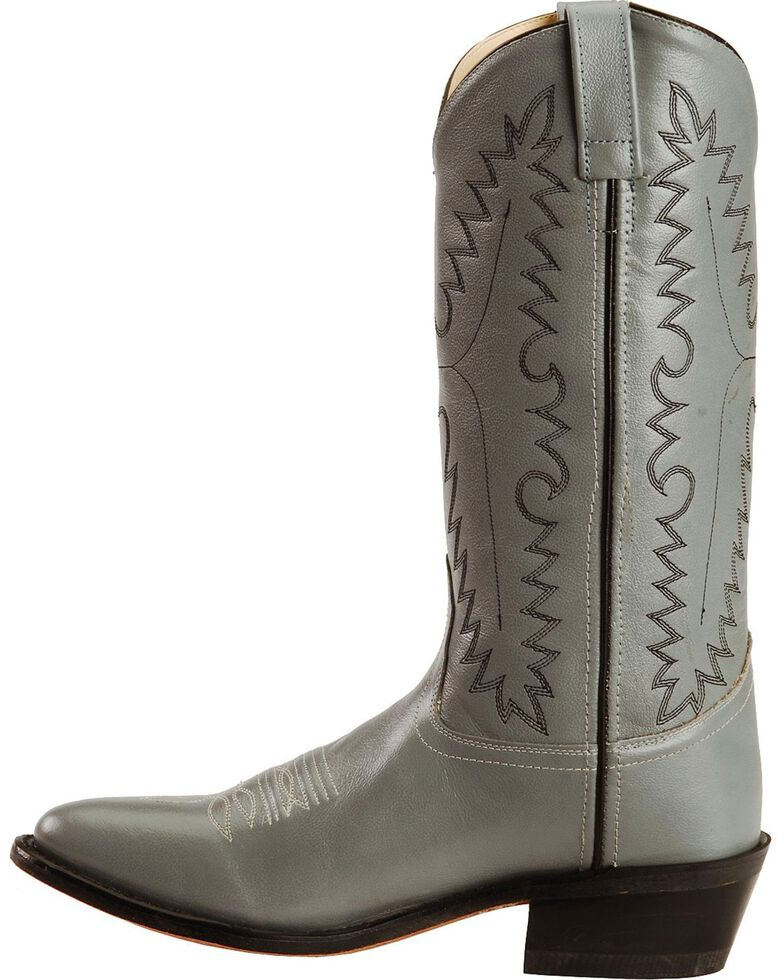 Old West Smooth Leather Cowboy Boots - Medium Toe, Grey, hi-res