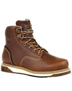 Georgia Boot Men's AMP LT Wedge Waterproof Work Boots - Soft Toe, Brown, hi-res