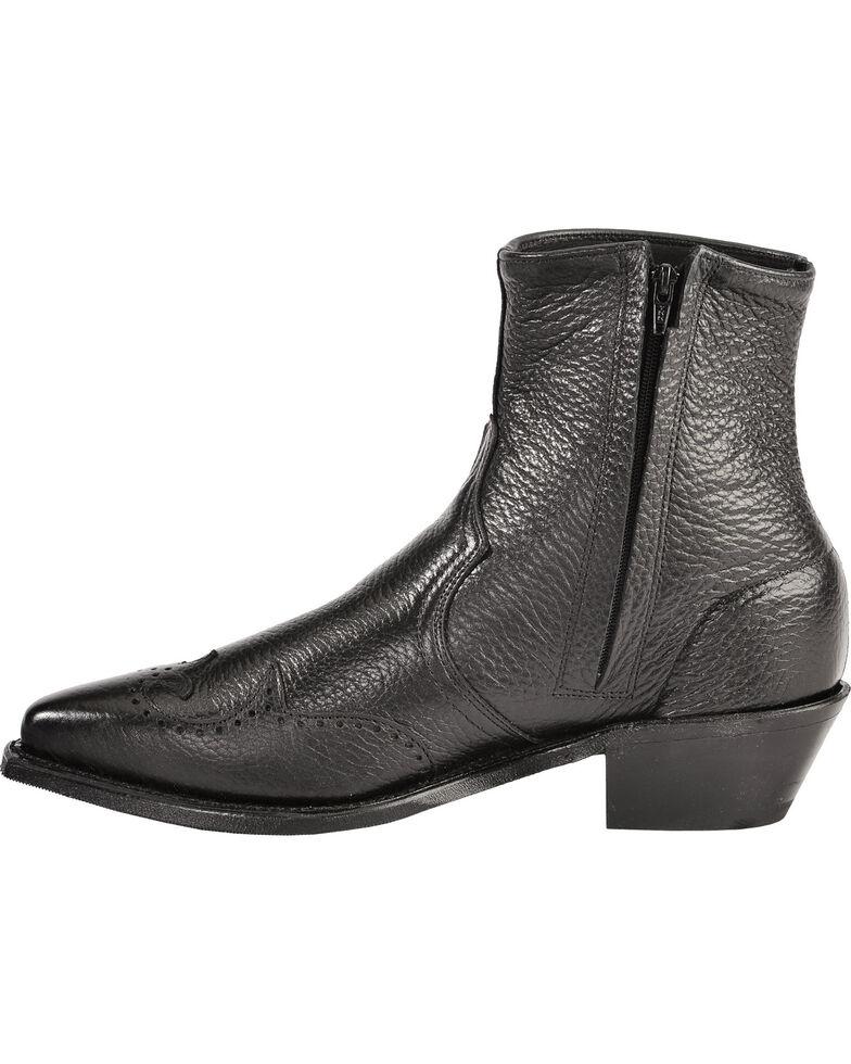Abilene Western Wingtip Zipper Boots - Snip Toe, Black, hi-res