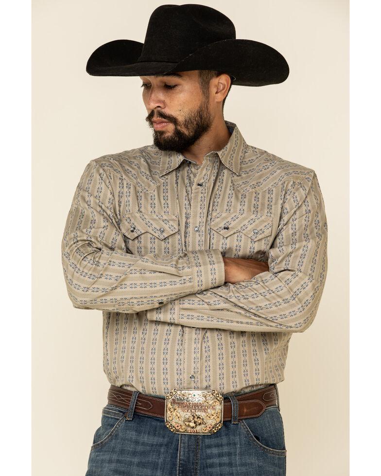 Cody James Men's Canyon Flower Striped Long Sleeve Western Shirt , Tan, hi-res