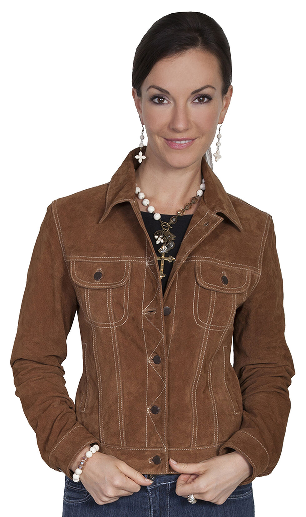 Scully Brown Suede Denim-Style Jacket, Brown, hi-res