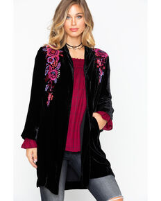 Johnny Was Women's Marcella Velvet Long Jacket, Black, hi-res