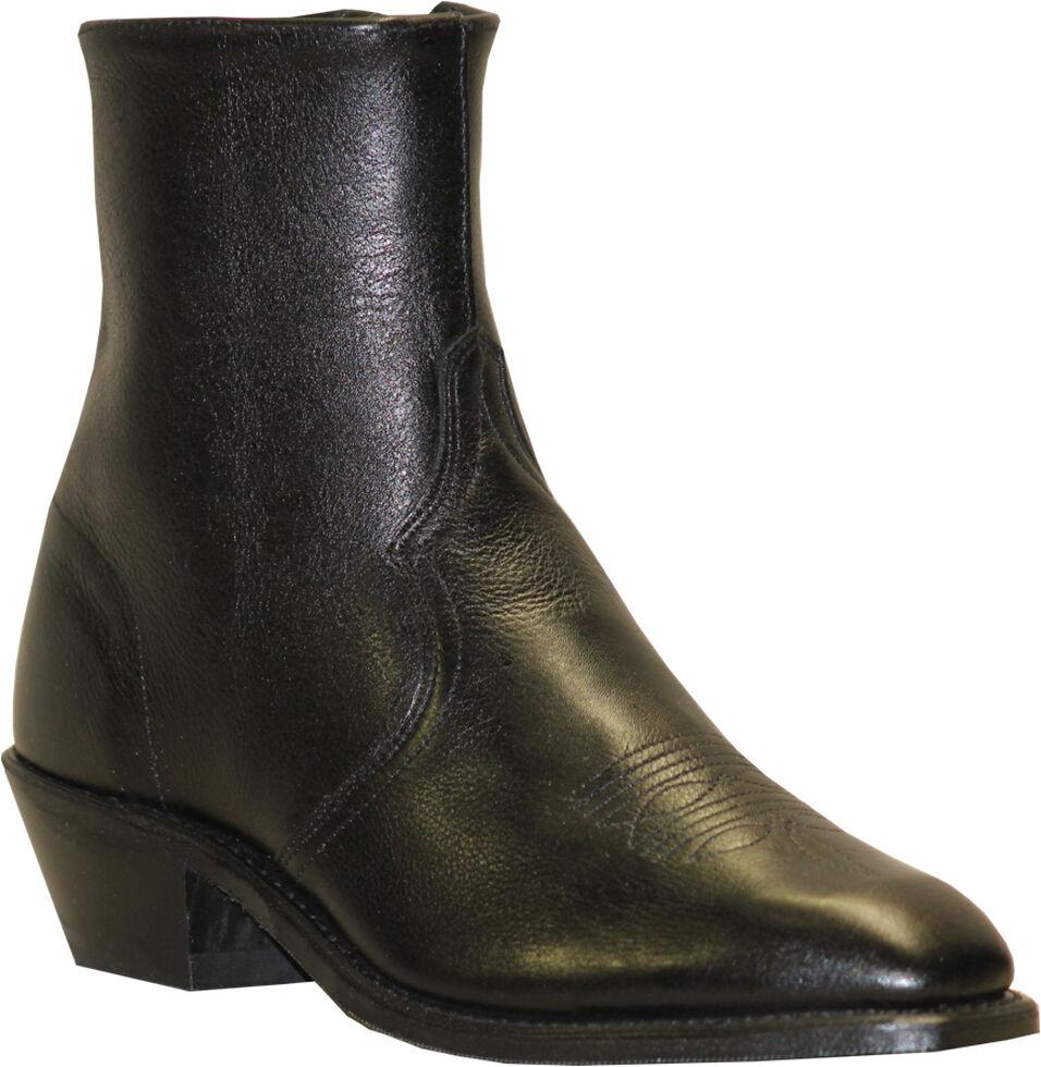 Abilene Boots Men's Zipper Short Dress Boots, Black, hi-res