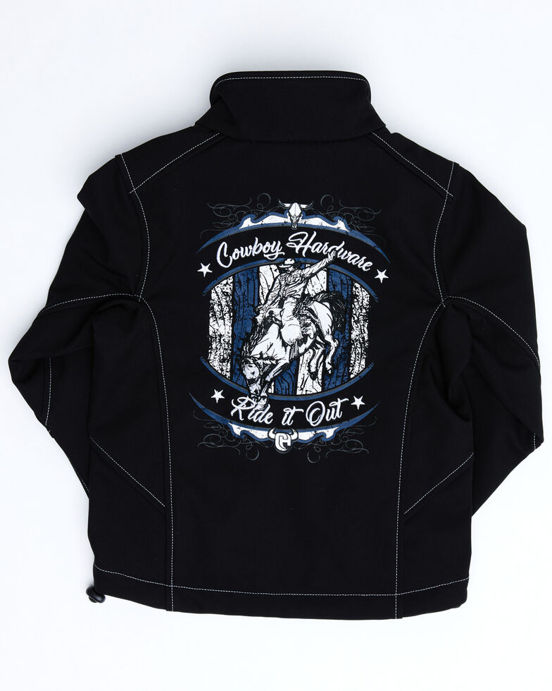 Cowboy Hardware Boys' Ride It Out Embroidered Zip-Up Jacket , Black, hi-res