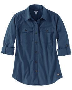 Carhartt Women's Wine Rugged Flex Bozeman Work Shirt, Blue, hi-res