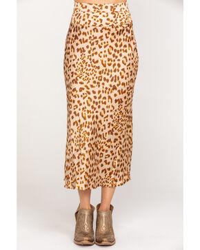 Free People Women's Normani Bias Printed Skirt , Brown, hi-res