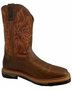 Justin Men's Bolt Western Boots - Wide Square Toe, Tan, hi-res