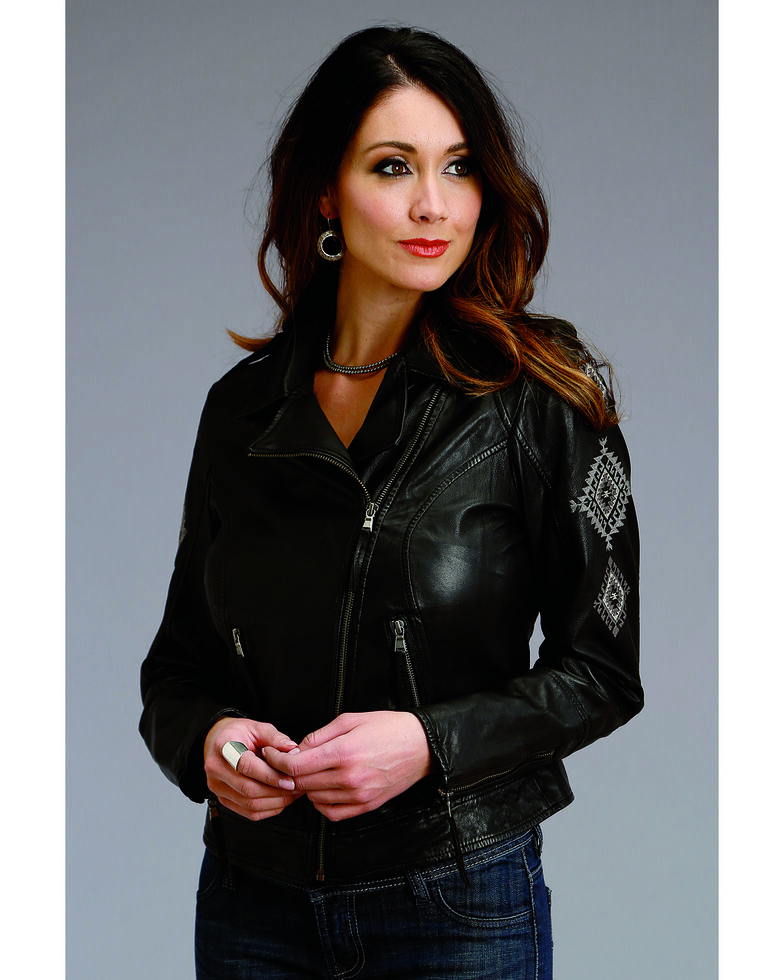 Stetson Women's Embroidered Motorcycle Leather Jacket , Black, hi-res