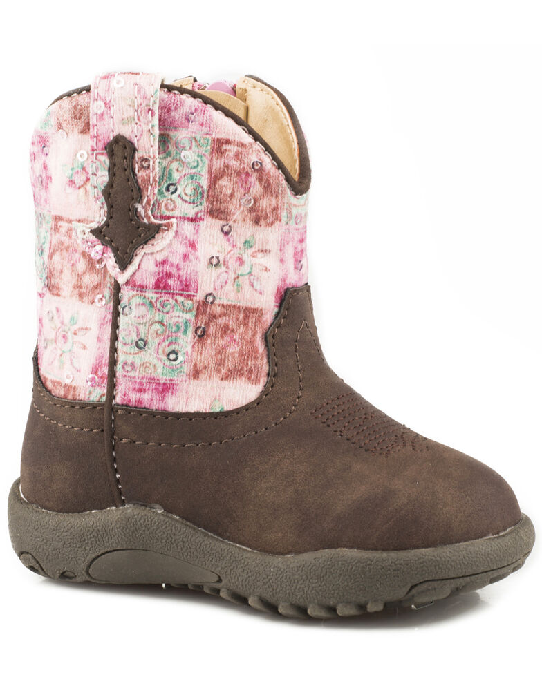 Roper Infant Girls' Floral Shine Sequin Cowbabies Boots - Round Toe, Brown, hi-res