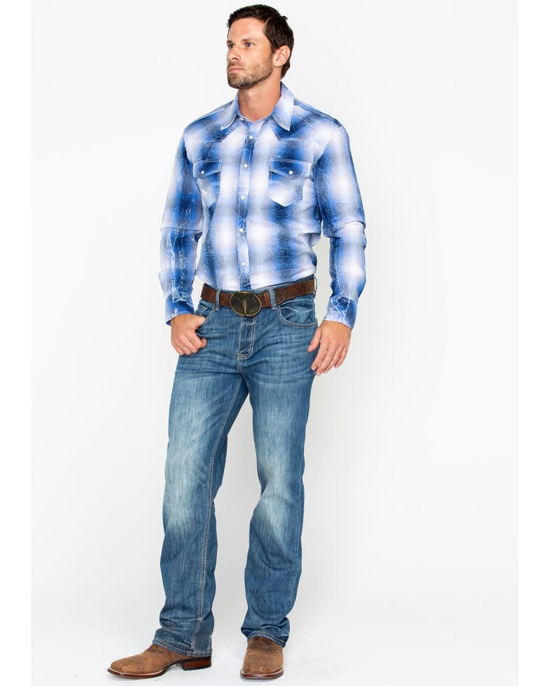 Rock & Roll Denim Men's Yarndye Poplin Plaid Long Sleeve Western Shirt, Light Blue, hi-res