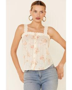Blu Pepper Women's Ivory Floral Print Crochet Strap Tank Top, Natural, hi-res