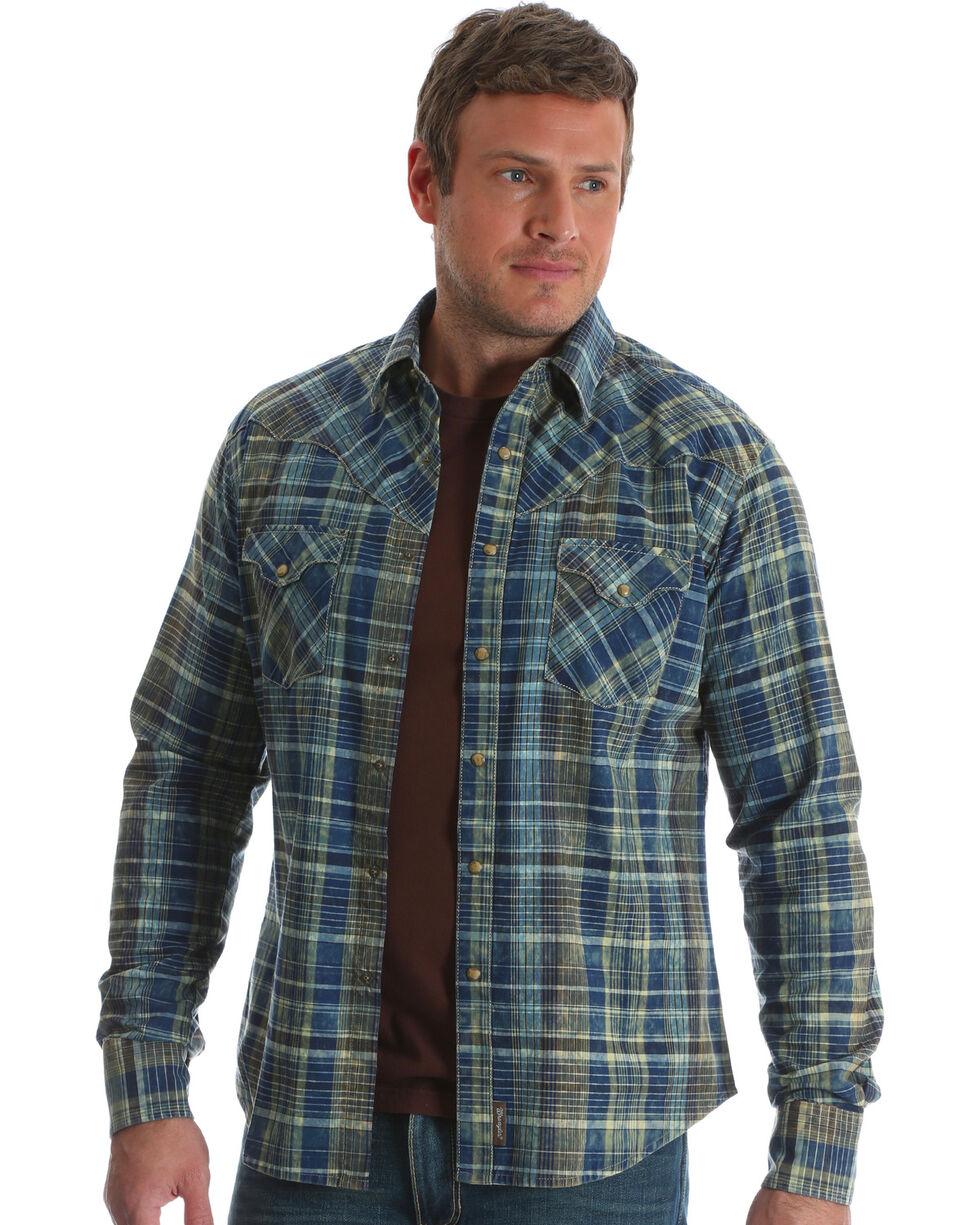 Wrangler Retro Men's Blue Long Sleeve Plaid Shirt , Blue, hi-res