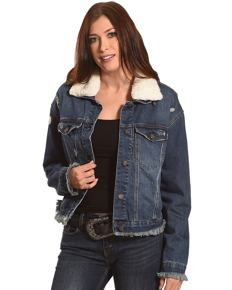Tractr Women's Interchangeable Collar Denim Jacket , Indigo, hi-res