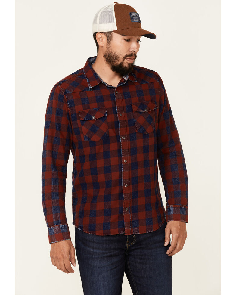Flag & Anthem Men's McLennan Navy Vintage Plaid Long Sleeve Snap Western Shirt , Navy, hi-res